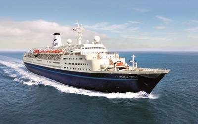 The CMV operated cruise vessel Marco Polo will be making several calls to Cardiff over the summer. Photo: Associated British Ports