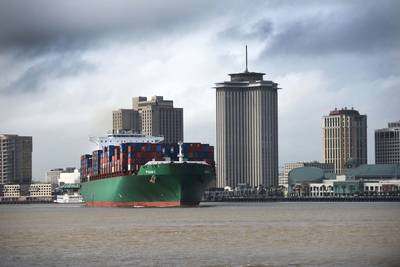 The CMA CGM operated Pusan C, a 9,500 TEU vessel, is the largest containership to ever call at Port NOLA's Napoleon Avenue Container Terminal. (Photo: Port of New Orleans)