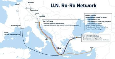 U.N. Ro-Ro operates five major routes between Turkey and the EU Image courtesy DFDS