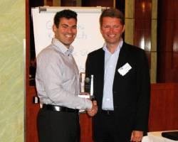 Photo: GL Compit Award Laureate 2011 Denis Morais (left) receives the award from Albrecht Grell, Executive Vice President Maritime Solutions Germanischer Lloyd