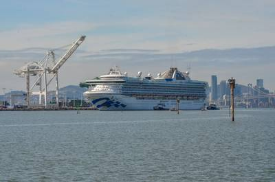 File photo: The coronavirus-hit Grand Princess arrives to the Port of Oakland in March (Photo: Port of Oakland)