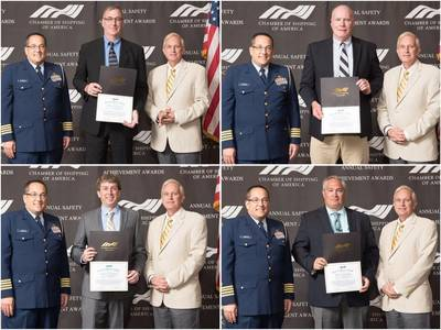 Pictured above are: Captain Andrew Sugimoto, Chief of Staff to RADM Thomas of the Eight USCG District and Jim Varley, Vice Chairman of the Board of Directors for the Chamber of Shipping of America with Crowley Captains (clockwise in center) Tod Doane, William Butler, Scott Davis and Robert Cope (Photo: Crowley)