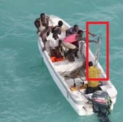 Pirates jettison boarding ladders: Photo credit EUNAVFOR