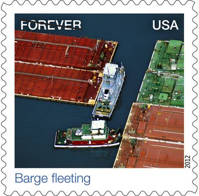 "U.S. Postal Stamp: ""Barge Fleeting,"" an aerial view of towing vessels."