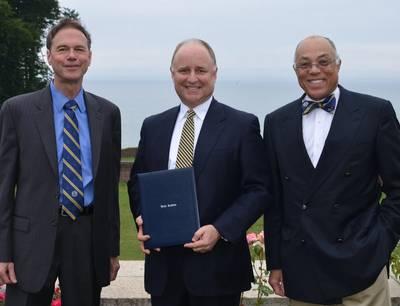 L to R - President R. Keith Michel, Thomas B. Crowley, Jr., Dr. George Campbell, Jr. (Photo: Webb Institute)