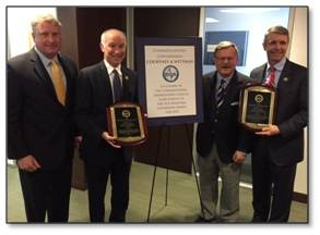 SCA President Matt Paxton and newly elected SCA Chairman Tom Godfrey, Jr. honor Congressmen Joe Courtney and Wittman with the Maritime Leadership Award (Photo: SCA)