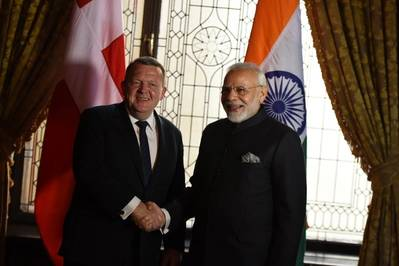 Prime Minister of Denmark Lars Løkke Rasmussen and Indian Prime Minister Narendra Modi. Photo: PIB
