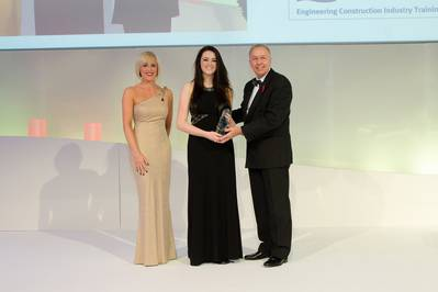 Proserv's Marnie Toal (centre) receives Oil & Gas UK's Apprentice of the Year Award from David Edwards, CEO of ECITB.