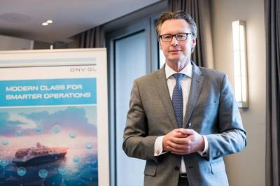 Knut Ørbeck-Nilssen, CEO DNV GL – Maritime, presenting at DNV GL's Nor-Shipping press conference in Oslo (Source: DNV GL)