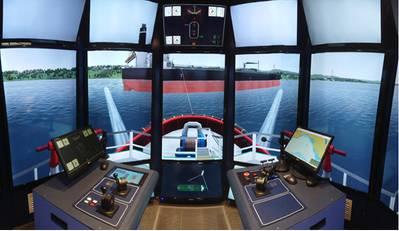 AMC recently installed 2 Rotortug simulator bridges, the first of its kind on Tasmania and Australia's east coast. Image courtesy KOTUG Training
