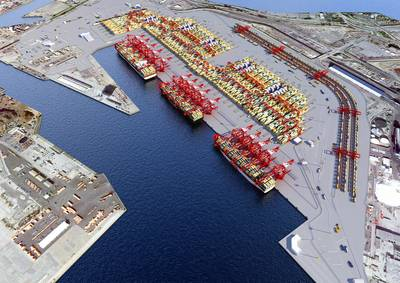A rendering of the POLB Middle Harbor berths (CREDIT: POLB)