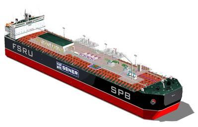 A rendering of a typical FSRU.  Credit: Sener