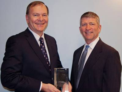 Richard Hadsall receives Lifetime Achievement Award from MTN's CEO Errol Olivier: Photo credit MTN
