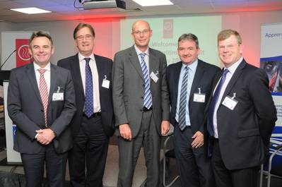: Left to right:  Cammell Laird chief executive John Syvret, Atlantic Container Line managing director Ian Higby, Bibby Ship Management Group chief executive Ed Rimmer, Peel Ports chief operating officer Gary Hodgson, and Hill Dickinson partner and Mersey Maritime chairman John Hulmes