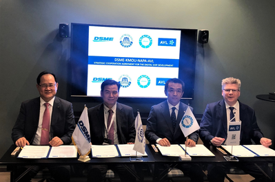 From left to right: Odin Kwon, Daewoo Shipbuilding & Marine Engineering, Deog Hee Doh, Korea Maritime and Ocean University, Naoki Mizutani, NAPA and Marko Dekena, AVL LIST signing the co-operation agreement at Nor-Shipping 2019 exhibition in Oslo.  (Photo: NAPA)