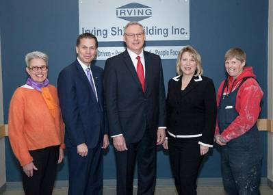 From left to right: Doreen Parsons, Manager of the Women Unlimited Association; Don Bureaux, Nova Scotia Community College President; Kevin McCoy, President of Irving Shipbuilding; Kelly Regan, Minister of Labour and Advanced Education; Koren Beaman, Halifax Shipyard Local 1 Executive (CNW Group/J.D. Irving, Limited)