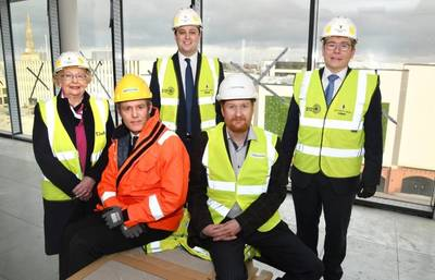 Back row left to right: Cllr Heather Scott, Tees Valley Mayor Ben Houchen, Peter Gibson MP Front row left to right: Simon Hounsome (DeepOcean Subsea Cables) and Pierre Boyde (Enshore) Photo: DeepOcean