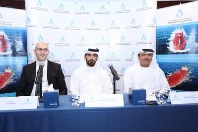 From right to left Mr. Khamis Juma Buamim, Group CEO, Abdulla Saeed Abdulla Brook Al Hemeiri, Chairman, and Ahmad Al Kilani, Board Member Photo Gulf Navigation