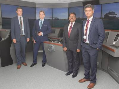 Left to right: Lars Lippuner, Head of Commercial Operations, Warsash School of Maritime Science and Engineering; Alex Ponomarev, Area Sales Manager, Wärtsilä; Muhammad Shafique, Senior Lecturer, Warsash School of Maritime Science and Engineering; Syamantak Bhattacharya, Dean, Warsash School of Maritime Science and Engineering (Photo: Wärtsilä)