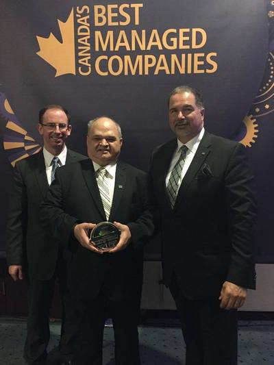 From left to right: Matthew Hynes (Executive Vice President), Captain Sid Hynes (Executive Chairman) and Steve Bilas (Vice President, Marketing & Sales) (photo courtesy of Oceanex)