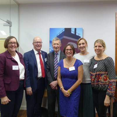 Left to right: Rachel Lawton of Mazars, WISTA UK Treasurer; Thomas Andersson of hosts Stena UK, Bridget Hogan of the Nautical Institute, WISTA UK Secretary and Torild Stokes and Katarina Bateson from Stena UK (Photo: WISTA UK)
