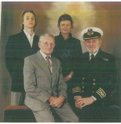 L-R Roderick Davis, son, Thelma Davis, wife, Reginald Bowker, father in law, Captain Roy Davis