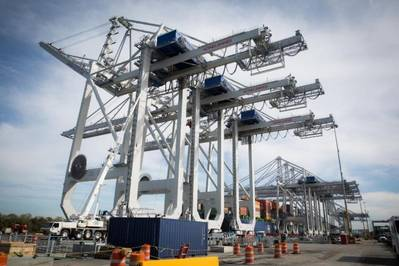The Port of Savannah has commissioned the first of four new ship-to-shore cranes at Garden City Terminal. Each new crane can lift 65 long tons to a height 152 feet above the dock.(Georgia Ports Authority)