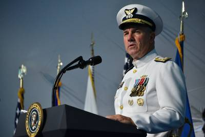 Adm. Karl Schultz speaks during a change of command ceremony at Coast Guard Headquarters in Washington, D.C., June 1, 2018. During the ceremony Schultz relieved Adm. Paul Zukunft to become the 26th commandant of the Coast Guard. (U.S. Coast Guard photo by Patrick Kelley)