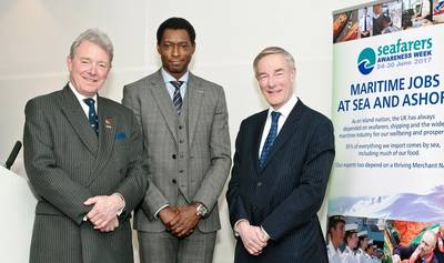 At the Seafarers Awareness Week launch on 9 February, from left to right: Commodore Barry Bryant CVO RN, Director General, Seafarers UK; Drew Brandy, Senior Vice President Market Strategy, Inmarsat Maritime; David Dingle CBE, Chairman, Maritime UK. (Photo: Seafarers UK)