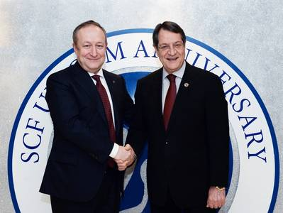 Sergey Frank Pres & CEO Sovcomflot (left) + President Anastasiadis (right) of the Republic of Cyprus (Photo: Sovcomflot)