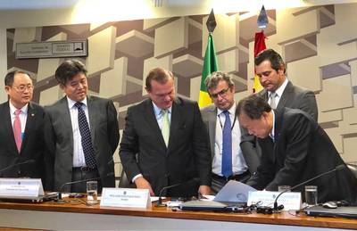 The signing of the letter of intent to close the TCP transaction was held in the Federal Senate of Brazil. Photo courtesy China Merchants Group