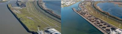Left: Situation at the start of works and after completion of the HES Hartel Tank Terminal quay walls and jetty. Foto: Paul Martens, HES Hartel Tank Terminal
