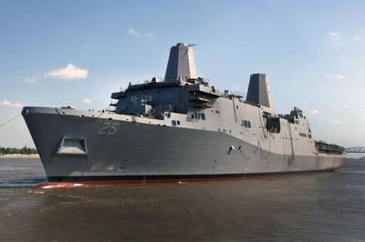 USS Somerset (LPD 25) is launched from the Avondale Shipyard in 2012. The vessel later became final Navy ship to depart from the shipyard, in February 2014. (U.S. Navy photo courtesy of Huntington Ingalls Industries)