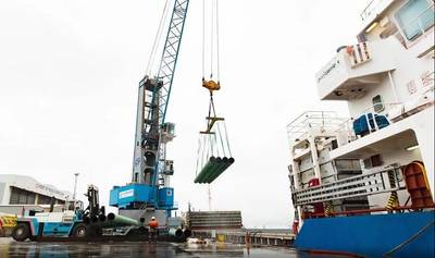Steel imports at Port of Middlesbrough - the vessel MV Blue Tune. (Photo: Port of Middlesbrough)
