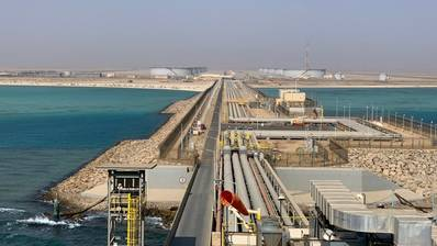 The terminal consists of a tank farm and offshore facilities to receive, store, and load Arabian Light and Arabian Super Light crude oil. (Photo: Saudi Aramco)