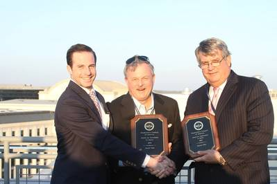 Terry O Brien accepts Austal SCA Safety Awards from Stephen Woodring and Tom Godfrey of SCA Photo Austal