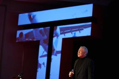 Transas CEO Frank Coles' delivers a rousing Keynote speech at the Transas Global Conference in Vancouver. CREDIT: Transas
