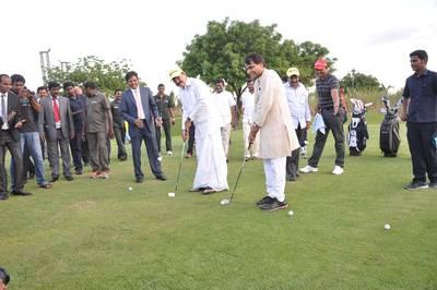Mr Venkaiah Naidu & Mr Suresh Prabhu doing the T-off at CVR Links Golf Course Photo Krishnapatnam Port