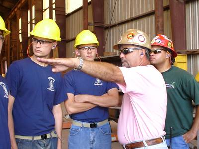 Vocational technical students touring a Bollinger Shipyards facility in Louisiana. Courtesy of Bollinger Shipyards.