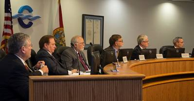 CEO John E. Walsh and Commissioners Bruce Deardoff, Hank Evans, Tom Weinberg, Jerry Allender  and Wayne Justice (Photo courtesy of Port Canaveral)