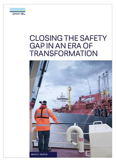 "The white paper identifies a looming ""safety gap"" between shipping's existing approach to safety risks and its ambitions for greater digitalization and the adoption of alternative fuels. (Image: DNV GL)"