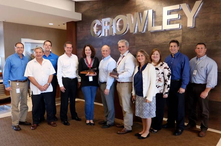 From left:  Rob Clapp, vice president, planning and strategy; Mike Golonka, vice president, government services; Cole Cosgrove; vice president, marine operations; Eric Evans, vice president, strategy; Eisenhart, Crowley and Hilburn; Susan Michel, vice president, organizational development; Kyra Roca, vice president, customer care; Todd Busch, senior vice president and general manager, technical services; Robert Weist, vice president, North America transportation. (Photo: Crowley)