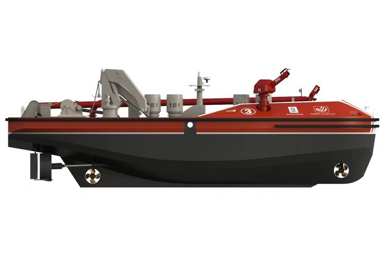 To address the evolving safety and security needs of modern ports, Vancouver based naval architects and marine engineers Robert Allan Ltd., and international marine technology specialist Kongsberg Maritime are collaborating on the development of a radically new remotely-operated fireboat that will allow first responders to attack dangerous port fires more aggressively and safer than ever before. Image: Kongsberg/RAL