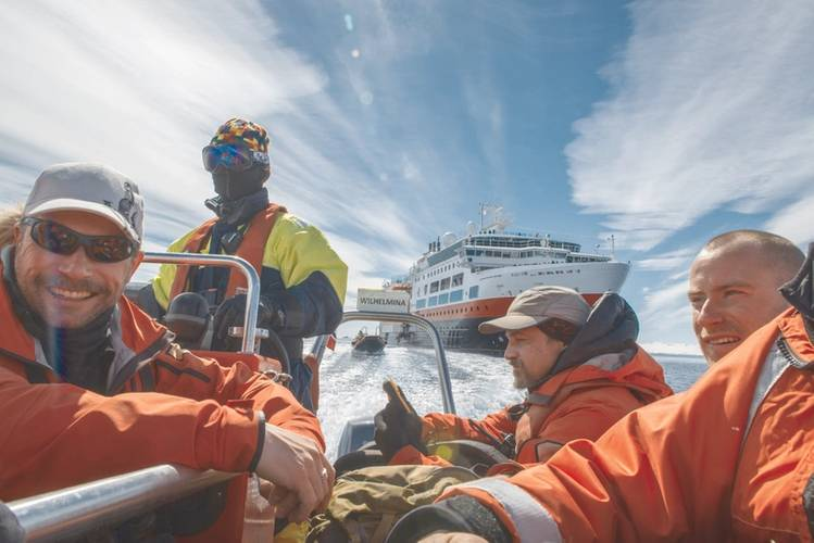Adventurists: staff and travelers head to shore at Brown Bluff, Antarctica (Credit: Esther Kokmeijer/courtesy Hurtigruten AS)