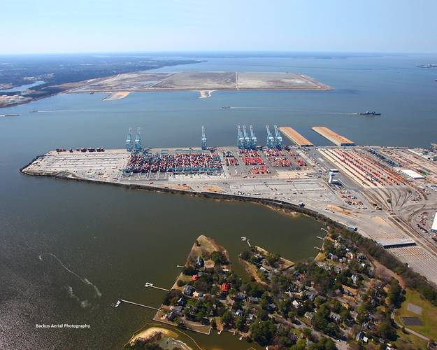 An aerial view of the NIT expansion project. CREDIT: Port of Virginia
