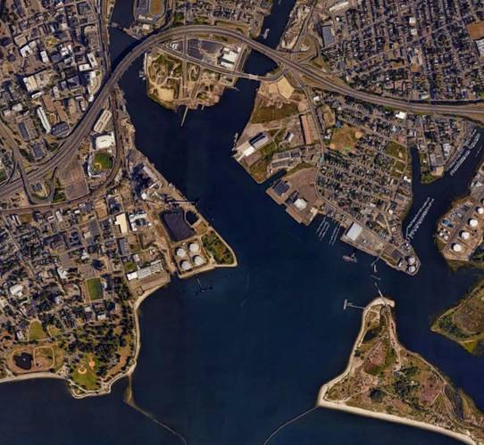 An aerial image of Bridgeport, CT