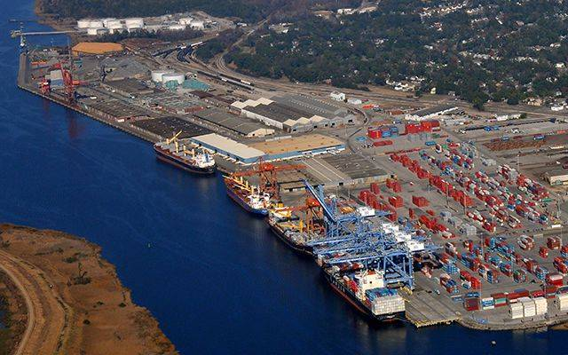 An aerial shot of the port of Wilmington, Delaware