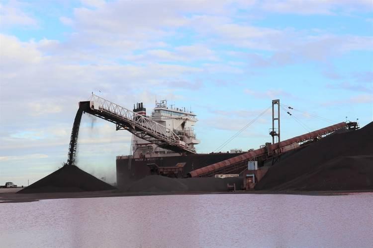 American Steamship Company's Walter J. McCarthy offloading iron ore at Cleveland Bulk Terminal. (Photo Credit: Thomas Rayburn)