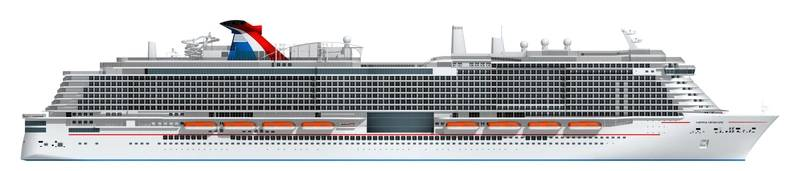 Artist rendering of Carnival's new 180,000-ton ship to be powered by LNG (Image: Carnival Cruise Line)