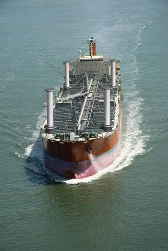 Artist's depiction of a wind-assisted tanker at sea.